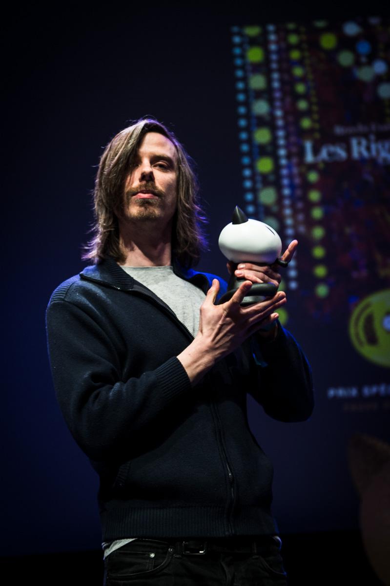 Cérémonie de Remise des Fauves, Théâtre d'Angoulême. Bretch Evens, Prix Spécial du Jury pour 'Les Rigoles'.