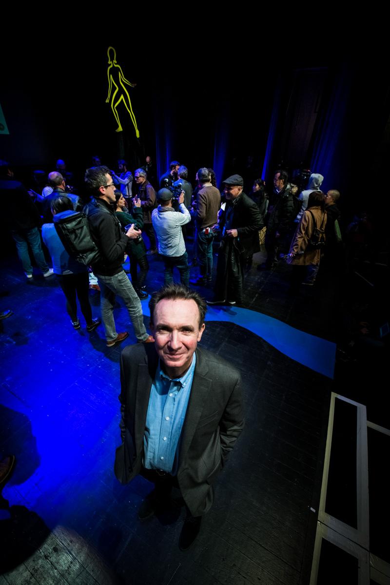 Cérémonie de Remise des Fauves, Théâtre d'Angoulême. Franck Bondoux sur scène à la fin de la cérémonie.