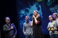 Cérémonie de remise des Prix Découvertes. Franck Thilliez, Dumont Yomgui  et Drac Jungle pour 'La Brigade des Cauchemars'. Théâtre d'Angoulême.