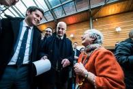 Exposition Bernadette Després, Quartier Jeunesse. Jean-Michel Blanquer , ministre de l'Education Nationale, Gabriel Attal, secrétaire d'Etat, visitent l'exposition de Bernadette Després.